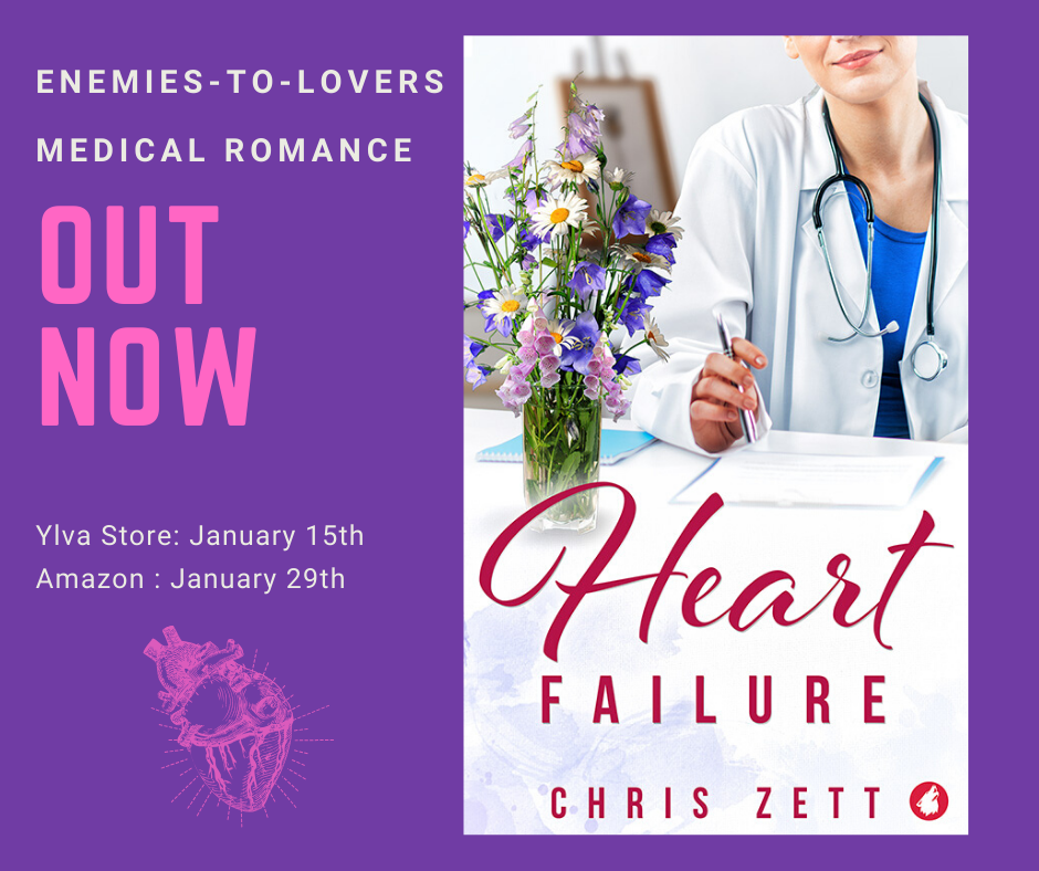 Cover of the novel Heart Failure with the words Coming soon, enemies-to-lovers medical romance next to it